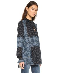 Free People - Black Changing Times Printed Tunic - Snow Combo - Lyst