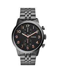 Fossil - Black Townsman Smoke Tone Stainless Steel Bracelet Watch  for Men - Lyst