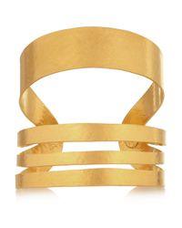 Herve Van Der Straeten Metallic Hammered Goldplated Cuff
