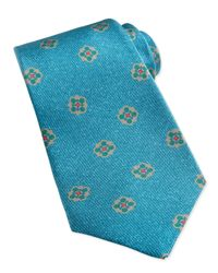 Kiton - Blue Flower-Medallion Pattern Tie for Men - Lyst