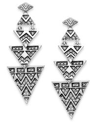 House of Harlow 1960 | Metallic Pavé Tribal Triangle Drop Earrings | Lyst