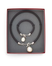 Majorica | Black Ophol 16mm-22mm White Baroque Pearl & Leather Pendant Necklace & Bracelet Gift Box Set | Lyst