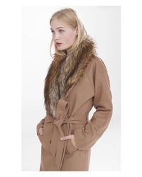 Express | Natural Extreme Faux Fur Collar Belted Coat | Lyst