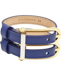 Balenciaga | Blue Leather B Bracelet-Colorless | Lyst