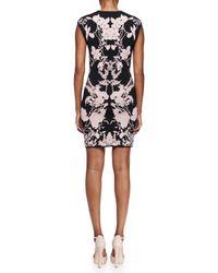 Alexander McQueen - Black Floral Jacquard Cap-sleeve Dress - Lyst