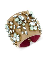 Betsey Johnson | Brown Bronzetone Crystal Gem and Bead Wide Cuff Bracelet | Lyst