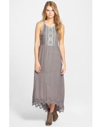 Rip Curl - Gray 'revelation' Open Back High/low Maxi Dress - Lyst
