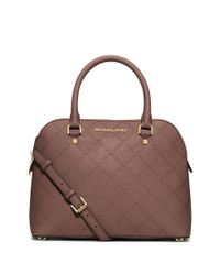 MICHAEL Michael Kors | Pink Cindy Leather Medium Dome Satchel | Lyst