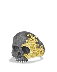 David Yurman - Metallic Waves Large Skull Ring With 18k Gold for Men - Lyst