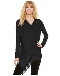 INC International Concepts | Black Fringe Wrap Cardigan | Lyst