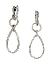 Effy Metallic Pave Classica Diamond And 14k White Gold Teardrop Earrings, 0.80 Tcw