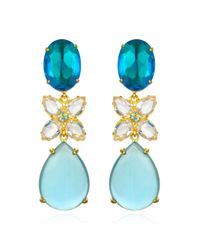 Bounkit | Blue Quartz & White Topaz Drop Earrings | Lyst