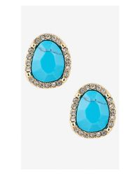 Express | Blue Turquoise Stone Stud Earrings With Pave Halo | Lyst