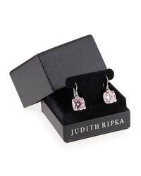 Judith Ripka | Metallic Pink Crystal Cushion Earrings | Lyst