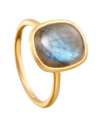 Astley Clarke | Metallic Tamborim Labradorite 18ct Gold Vermeil Stacking Ring | Lyst