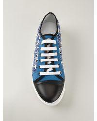 Moncler Blue Leopard Print Sneakers