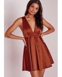 Missguided | Brown Silky Plunge Skater Dress Rust | Lyst