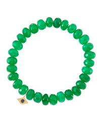 Sydney Evan - 8Mm Faceted Green Onyx Beaded Bracelet With 14K Yellow Gold/Diamond Small Evil Eye Charm (Made To Order) - Lyst