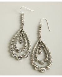 Ben-Amun - Metallic Silver And Crystal Tiered Teardrop Loop Earrings - Lyst