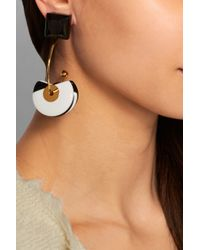 Marni | Black Gold-Plated, Horn And Resin Clip Earrings | Lyst
