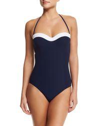 Tory Burch - Blue Colorblock Bandeau One-piece Swimsuit - Lyst