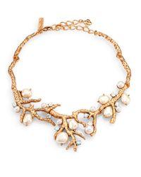 Oscar de la Renta - Metallic Swarovski Crystal Faux Pearl Coral Branch Necklace - Lyst