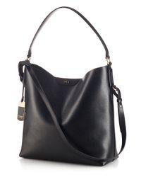 Lauren by Ralph Lauren Black Tate Leather Hobo Bag