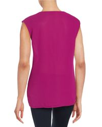 Cece by Cynthia Steffe | Purple Ruffle-front Blouse | Lyst