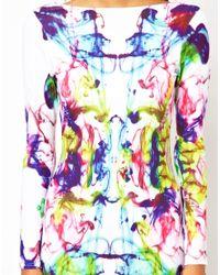 ASOS - White Mesh Insert Bright Abstract Midi Dress - Lyst