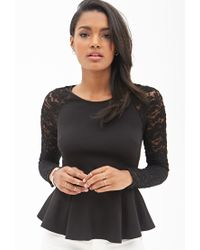 Forever 21 - Black Floral Lace Peplum Top - Lyst