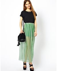 Traffic People | Green Anchors and Stripes Silk Maxi Skirt | Lyst