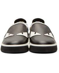 Fendi Black & Blue Monster Slip-on Sneakers for men