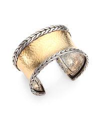 John Hardy Metallic 18K Yellow Gold & Sterling Silver Hammered Cuff Bracelet