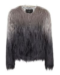 TOPSHOP Gray Dream Jacket By Unreal Fur