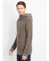 Vince Green Brushed Mohair Blend Chevron Pullover Hoodie for men