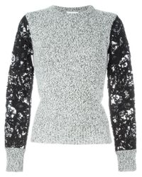 See By Chloé - Black Crochet Sleeve Sweater - Lyst