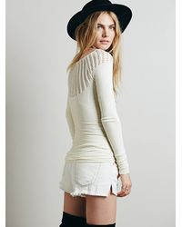 Free People White Cut Out Neck Long Sleeve Top