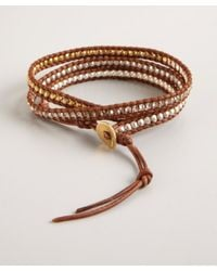 Chan Luu - Brown Pearl Gold Bead and Crystal Leather Wrap Bracelet - Lyst