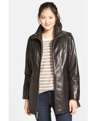Ellen Tracy Black Leather A-line Coat