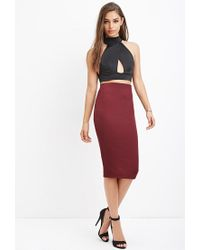 Forever 21 | Purple Ribbed Bodycon Midi Skirt | Lyst