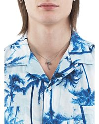 Saint Laurent - Metallic Men's Short Hawaii Palm Charm Necklace In Oxidised Silver - Lyst