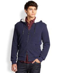 Madison Supply Blue Faux-fur Zip Hoodie for men