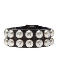 Ronald Pineau - Black Studded Cuff Bracelet - Lyst