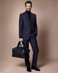 Jaeger Blue Speckled Hopsack Trousers for men