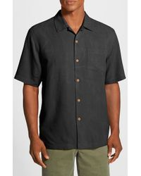 Tommy Bahama | Black 'bedarra Garden' Original Fit Silk Sport Shirt for Men | Lyst
