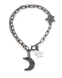 Lanvin | Black Crystal Moon & Star Charm Necklace | Lyst