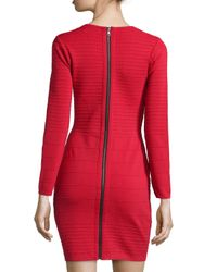 Betsey Johnson Red Ponte Long-Sleeve Dress
