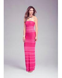 Bebe Pink Sheer Opaque Strapless Maxi Dress