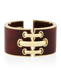 David Webb - Brown 18k Gold Bloodwood Shoelace Cuff Bracelet - Lyst