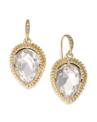 ABS By Allen Schwartz - White Goldtone Clear Crystal Teardrop Earrings - Lyst